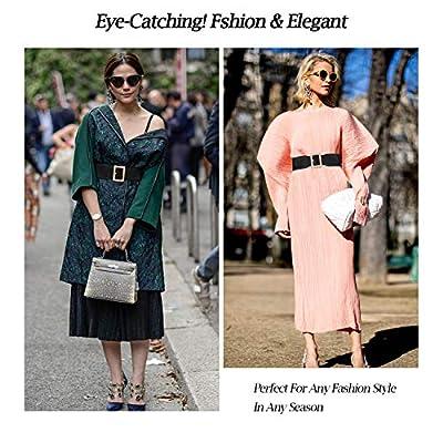 Women Wide Elastic Stretch Waist Belt Ladies Fashion Cinch Belt For Dress With Mirror Metal Pin Buckle