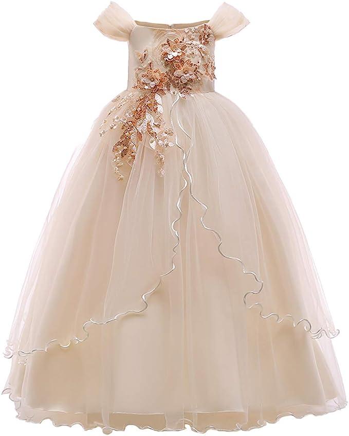 Amazon.com: Vestido de fiesta para niñas con diseño de ...