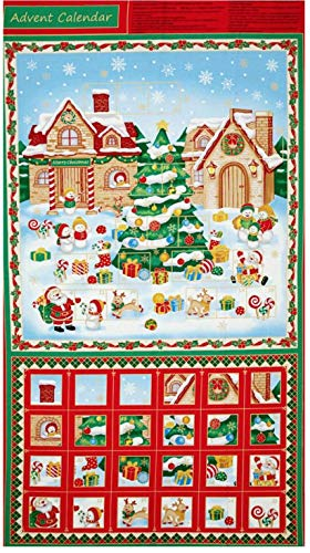 (Christmas Village Advent Calendar 100% Cotton Fabric by The Panel)