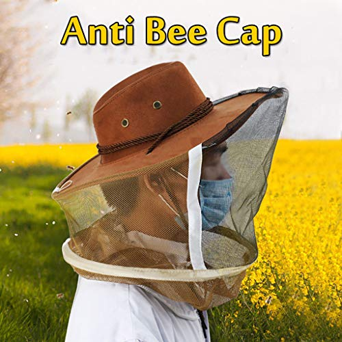 Tpingfe Anti Bee Face Mask Hat Beekeeping Protector Cap Beekeeper Fly Insect Net Cowboy