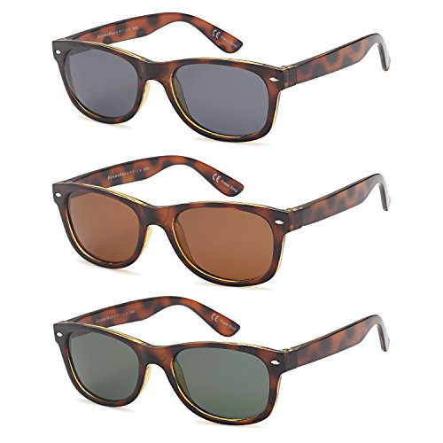 GAMMA RAY CHEATERS Best Value Polarized UV400 Wayfarer Style Sunglasses with Mirror Lens and Multi Pack Options 3 Pairs - 52 Eye Size Tortoise Frame Mixed Lens Colors