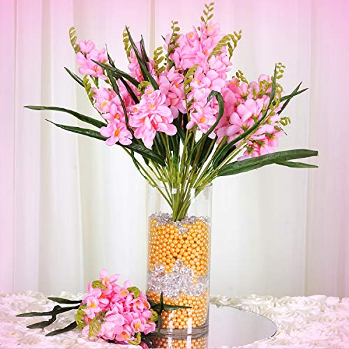 Inna-Wholesale Art Crafts New 4 Pink Bushes Silk Freesia Decorating Flowers Bouquets Reception Party Decorations - Perfect for Any Wedding, Special Occasion or Home Office D?cor ()