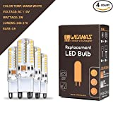 Weanas 4x G9 Base 64 LED Light Bulb Lamp 3 Watt AC 110V Warm White Undimmable Equivalent to 20W Halogen Track Bulb Replacement 360° Beam Angle
