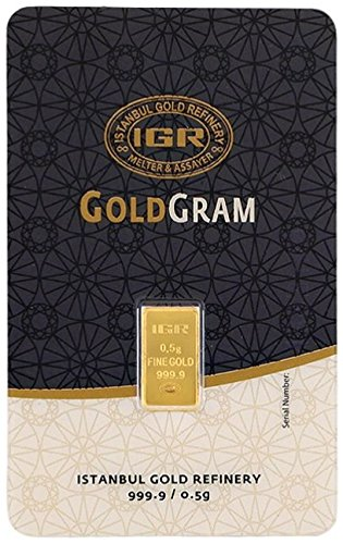 0.5 G Gram 9999 24k Gold Premium IGR / IAR Bullion Bar (24ct Bars)
