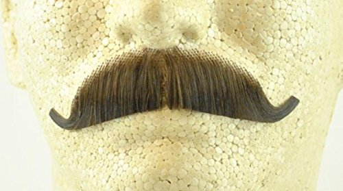 European Moustache MEDIUM BROWN - 100% Human Hair - no. 2012 - REALISTIC! Perfect for Theater - Reusable!]()