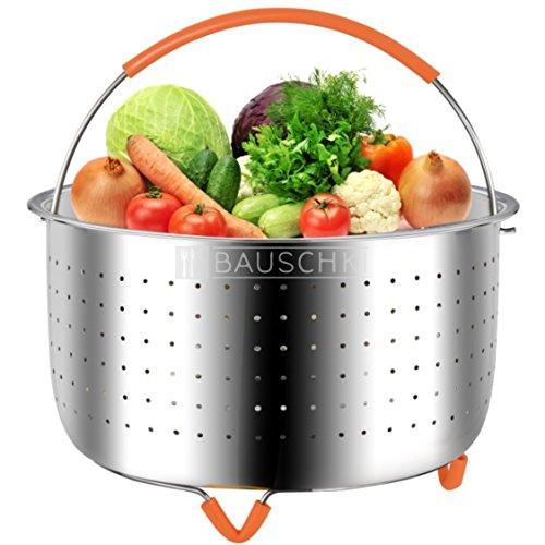 Bauschki Instant Pot Accessories, Vegetable Steamer Basket for instapot 6qt, 8qt - Egg Meat Food Rice Dumpling Cooker 6 qt, 8 quart Accessory - Stainless Steel, BPA Free Non-Slip Silicone Handle &Legs by Bauschki (Image #8)
