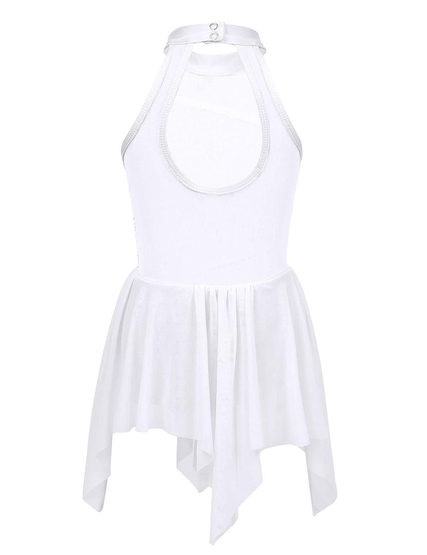 Freebily Kids Girls Sequins Halter Neck Lyrical Dance Crop Top with Mesh Tutu Skirt Morden Contemporary Costume