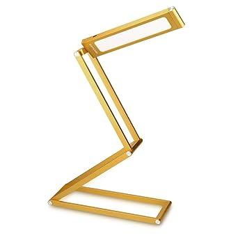 kwmobile Lámparas LED para mesa de noche de aluminio - Lámpara de pie con batería y cable MicroUSB - Flexo de cabeza giratoria en dorado