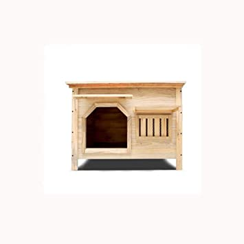 Medio sin puerta con ventana exterior interior plano superior de carbón de madera casa de perro ...