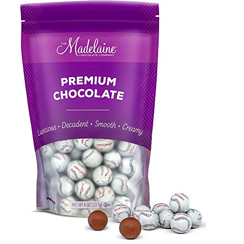 (Madelaine Solid Premium Milk Chocolate Baseball Candy Party Favors Wrapped In Italian Foil (1/2)