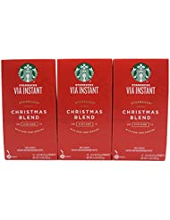 Starbucks VIA Christmas Blend Instant Coffee 36 Servings 3 Pack Boxes 12 Packets Each Box