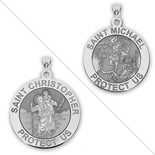 Saint Christopher And Saint Michael Doublesided Medal   2 3 Inch Size Of A Dime   Sterling Silver