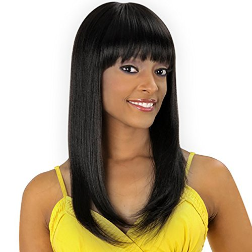 Cheap Wigs With Bangs (Allaosify Hair Long Straight Black Wigs with Bangs Synthetic Wigs for Black Women High Temperature Fiber Wigs for Black Women)