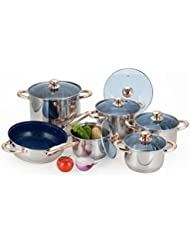 Alpine Cuisine 12 Piece Stainless Steel Cookware with Gold Accents