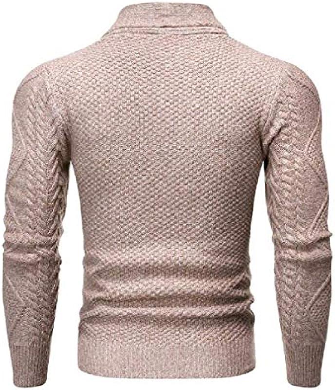 HenShiXin Bieten Männer beiläufige dünne Schalkragen zuknöpfen Strick vorne offen Cardigan Schnell (Color : Khaki, Size : Large): Küche & Haushalt