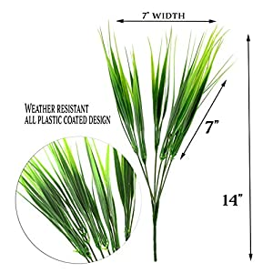 Plastic Wheatgrass (8 Bunches); Artificial Wheat Grass Greenery Shrubs Stalks Fake Decorating Shrubs for Indoor/Outdoor Imitation Plants 3
