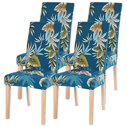 SearchI Dining Room Chair Covers Slipcovers Set of 4, Spandex Fabric Fit Stretch Removable Washable Short Parsons Kitchen Chair Covers Protector for Dining Room, Hotel (Blue+Leaf, 4 per Set)