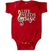 inktastic Life Needs Music- Ocean Colors Infant Creeper Newborn Red