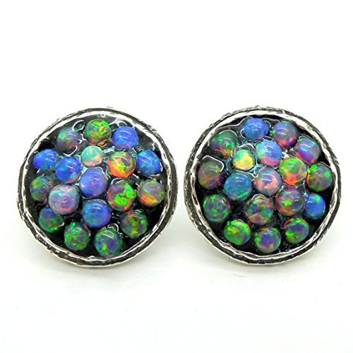 Round stud earrings with mosaic opal set in silver