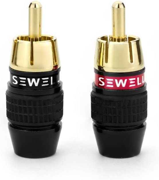 8 Pieces 4 Pair Premium Solderless RCA Plugs Sewell Deadbolt RCA Plugs with Fast-Lock Technology