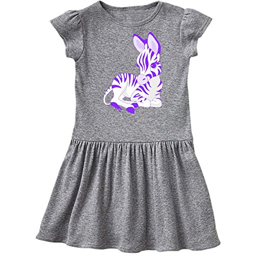 inktastic Purple Zebra Toddler Dress 3T Heather Grey e6eb (Dress Purple Zebra)