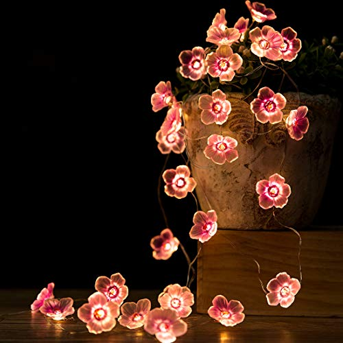 Flower String Lights Fairy Pink Cherry Blossom String Lights 10ft 30 LEDs el Wire Battery Operated Fun Room Lights for Spring, Nursery, Wedding, Dorm, Girls Bedroom, Baby Carriage Decoration (Lights String For Flower Bedroom)