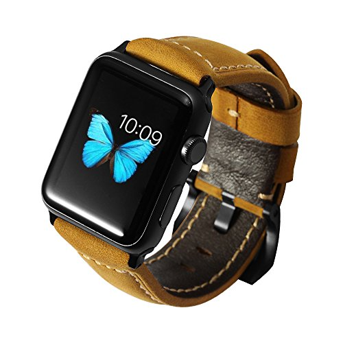 iStrap 24mm Assolutamente Calf Leather Watch Band Black PVD Buckle for Apple Watch 42mm- Brown