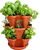 3 Tiered Stackable Indoor Outdoor Vertical Herb Planter - Learn How to Grow Organic Herbs Easy with These Terra Cotta Plastic Containers - Great Garden Planting Pots - Planters Also Used for Strawberries Peppers Flowers Tomatoes Succulents Green Beans Hyd