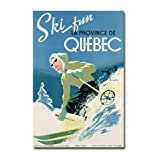 Skiing in Quebec, 1938, 22x32-Inch Canvas Wall Art