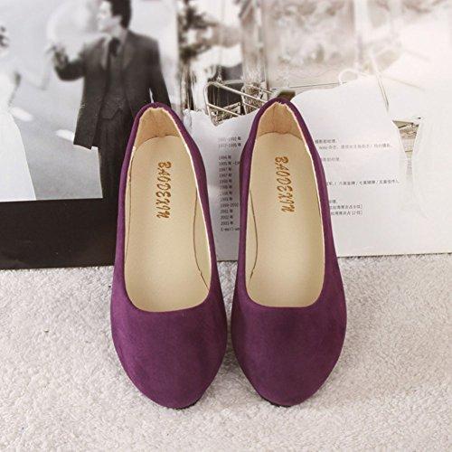 Piel Básicas Zapatos Mujer Bailarinas Ocio Planos Moda Púrpura Sintética de y 57q4t4FRw
