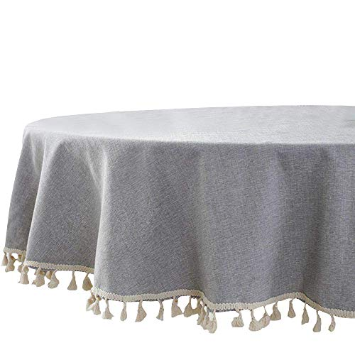 Lahome Solid Color Tassel Tablecloth - Cotton Linen Round Table Cover Kitchen Dining Room Restaurant Party Decoration (Gray, Round - 60