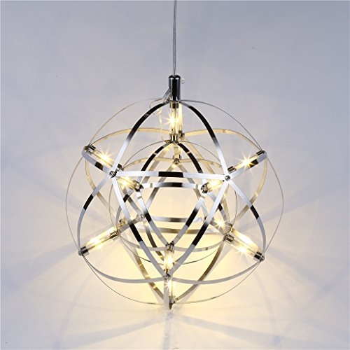 Floureon 12W LED Globe Shade Adjustable Planet Pendant Light Cord Kit Polished Stainless Steel Frame Decorative Spherical Chandelier