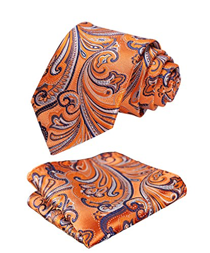 hisdern-paisley-tie-handkerchief-woven-classic-mens-necktie-pocket-square-set-orange