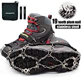 Crampons-19 Teeth Stainless Steel Anti Slip Ice Cleats,Micro Spikes ice Snow Grips Traction Cleats System Safe Protect for Walking,Suitable for Walking on ice, Jogging or Hiking.