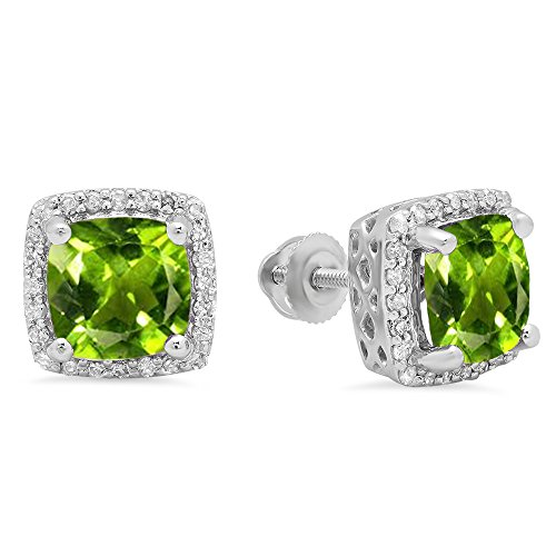 Dazzlingrock Collection 10K 7 MM Each Cushion Peridot & Round Diamond Ladies Square Frame Halo Stud Earrings, White Gold