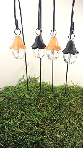 Miniature Orange (Fairy garden accessories. Halloween fairy lights. Set of 4 black and orange miniature lanterns.)