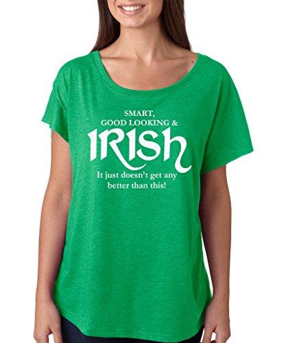 SignatureTshirts Women's Saint Patricks Day Smart Good Looking Irish Dolman T-Shirt (White Print) L Green ()