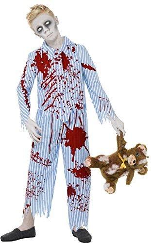 Boys Teens Dead Zombie Blue Striped Pyjamas Bloody Pjs Creepy Halloween Fancy Dress Costume 7-14 Years (7-9 years) ()