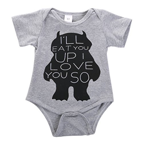 Cute Toddler Baby Girls Boys Monster Romper Bodysuit Outfits One-pieces(9-12 Months, Gray) (Cute Monster Costumes For Girls)