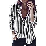 JSPOYOU Womens Tops Striped Long Sleeve Shirt Fashion Casual Top T Shirt Loose Blouse (US-6/CN-M, Dark Gray)