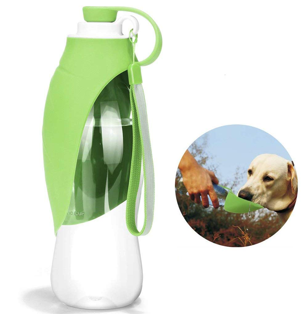 HJHY Portable Pet Water Bottle, Reversible & Lightweight Travel Water Dispenser for Dogs or Cats, Made of Food-Grade Silicone (Light Blue)