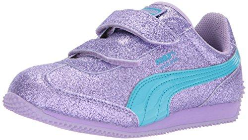 PUMA Girls' Whirlwind Glitz V Kids Sneaker, Purple Rose-Blue Atoll, 8 M US Toddler