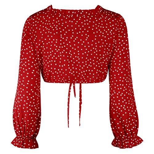 Short Dot Volants Crop Femmes Blouse Chemise Floral Rouge Bandages Longues Sexy Manches Top Innerternet zU5wxRqf