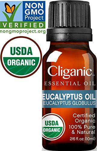 Cliganic USDA Organic Eucalyptus Essential Oil, 100% Pure | Natural Aromatherapy Oil for Diffuser/Humidifier, Steam Distilled (10ml) | 100% Satisfaction Guarantee 100% Pure Organic Eucalyptus