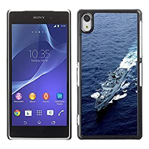 Be Good Phone Accessory // Dura Cáscara cubierta Protectora Caso Carcasa Funda de Protección para Sony Xperia Z2 D6502 D6503 D6543 L50t L50u // Nature Army USA Navy Destroyer