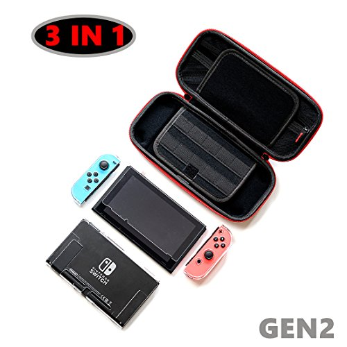 3in1Full Range Accessories for Nintendo Switch including EVA Portable Travel Carrying Case with 20 game card slots,Transparent Ultra Thin Cover, Tempered Glass Screen Protector and Joy-Con Con Nintendo Ds Slim