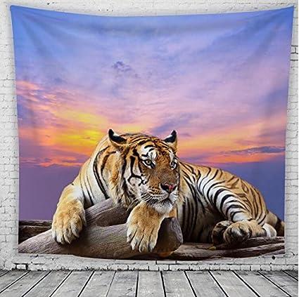 WLHW Tapices Tapicería de Pared Nórdico Americang Animal Tigre de Poliéster Chal Estilos Paño Colgante de