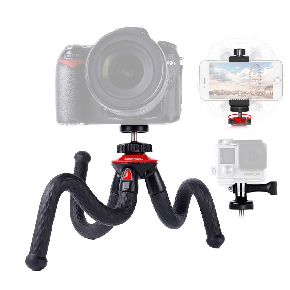 Lammcou Camera Tripod Flexible Phone Tripod Lightweight Action Camera Tripod Mini Gorilla Pod DSLR Tripod Octopus Travel Tripod Stand for Gopro/XiaomiYi/ Canon/Nikon/Sony/iPhone/Samsung/LG