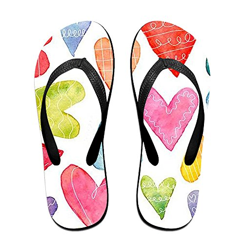 JESUS SAUCEDO Watercolor Heart Lightweight V Flip Flops Beach Slippers Chinela Baboosh Babouche - Malls Virginia Beach