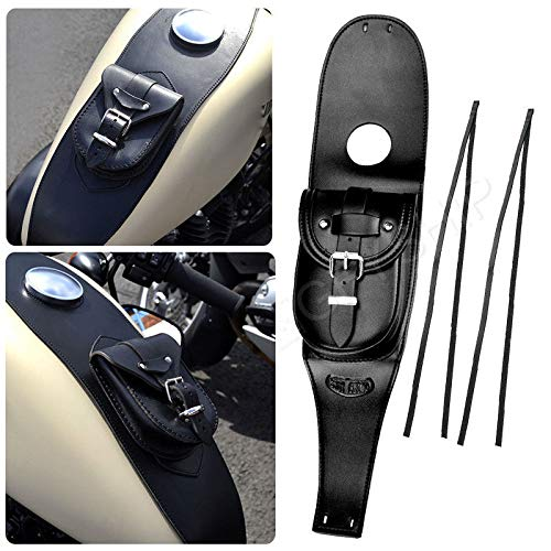 KYN Waterproof Black Motorcycle Gas Leather Iron Tank Cover Panel Pad Bag Pouch Bag for Harley Sportster XL883 1200 Forty Eight Iron 883 Seventy Two ()
